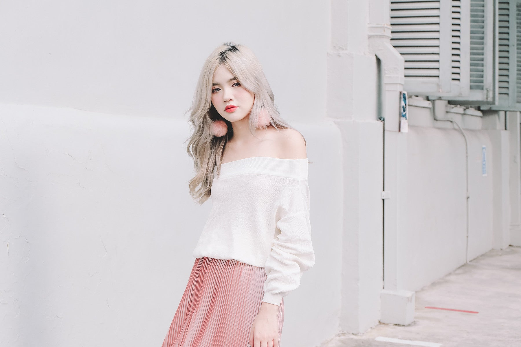 [Restocked] Knit Offsie Top in White
