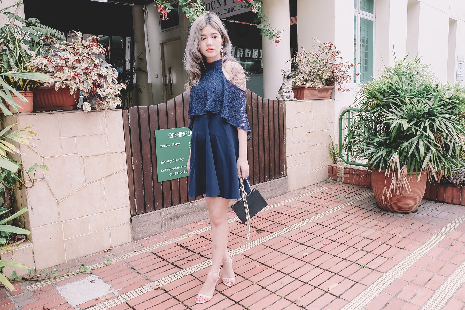 Layer Lace Cold Shoulder Dress in Navy