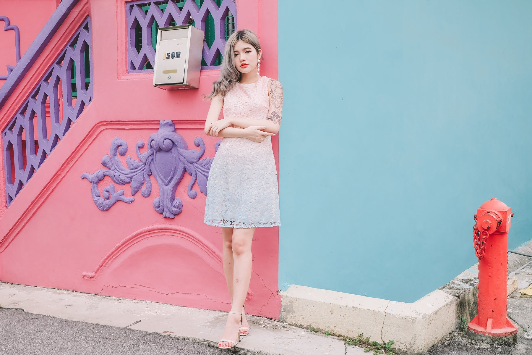 Ombre Lace Dress in Pink Blue