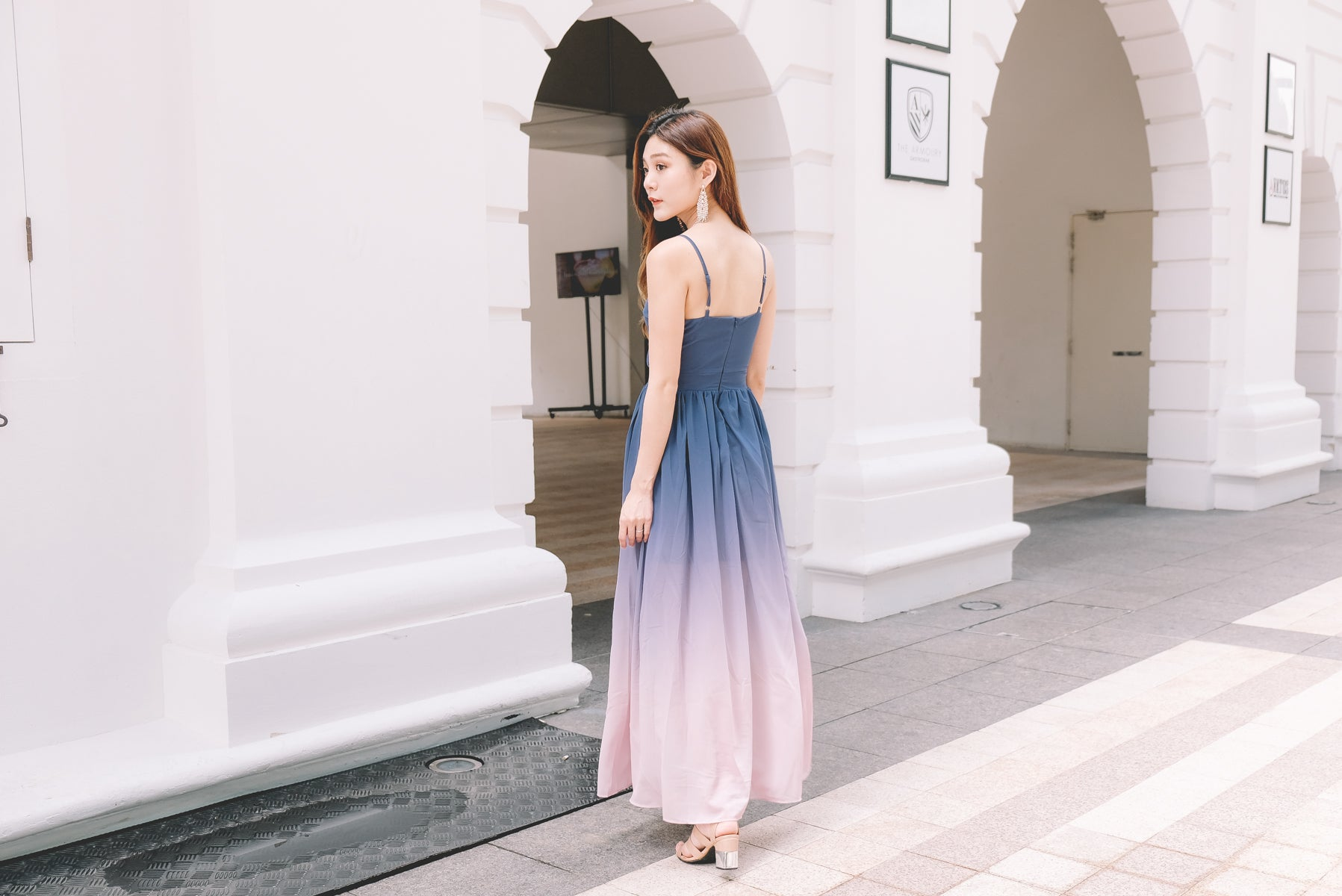 Grizel Ombre Maxi Dress in Navy/Pink