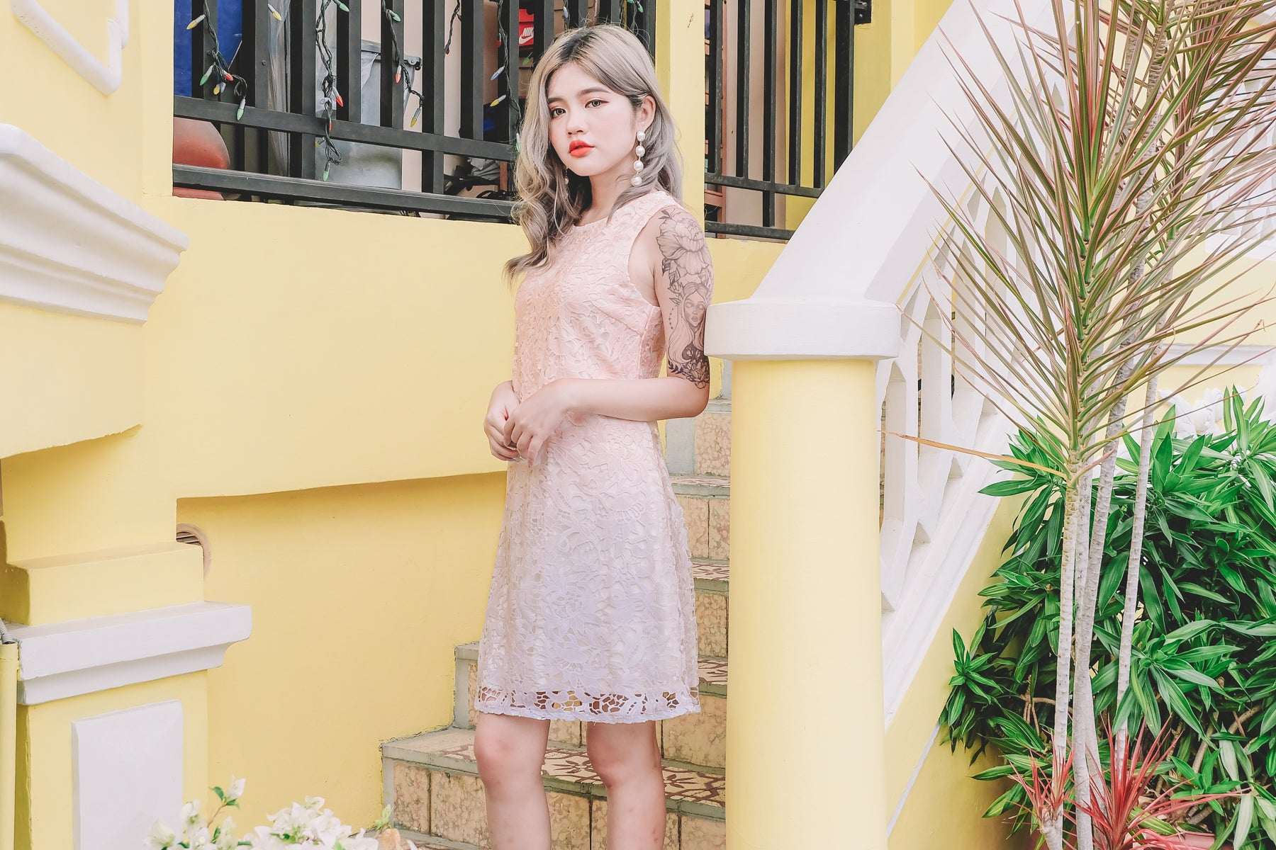 Ombre Lace Dress in Pink Lilac