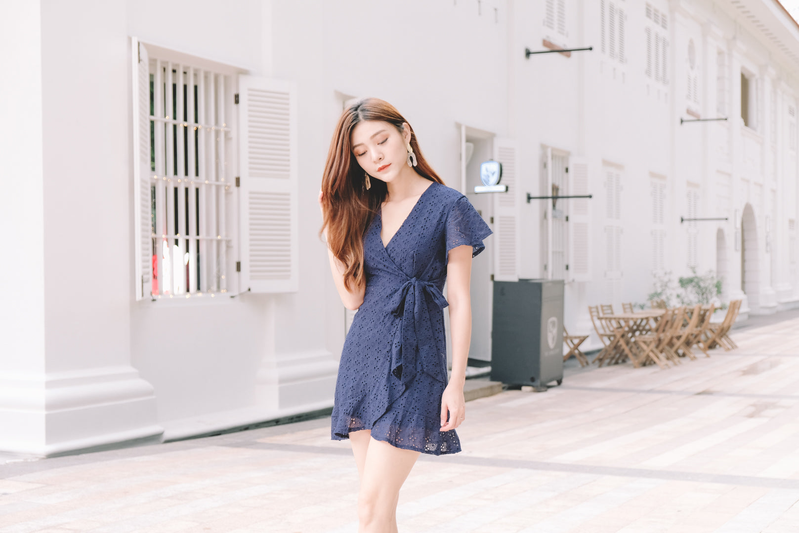 Cassie Eyelet Wrap Dress in Navy
