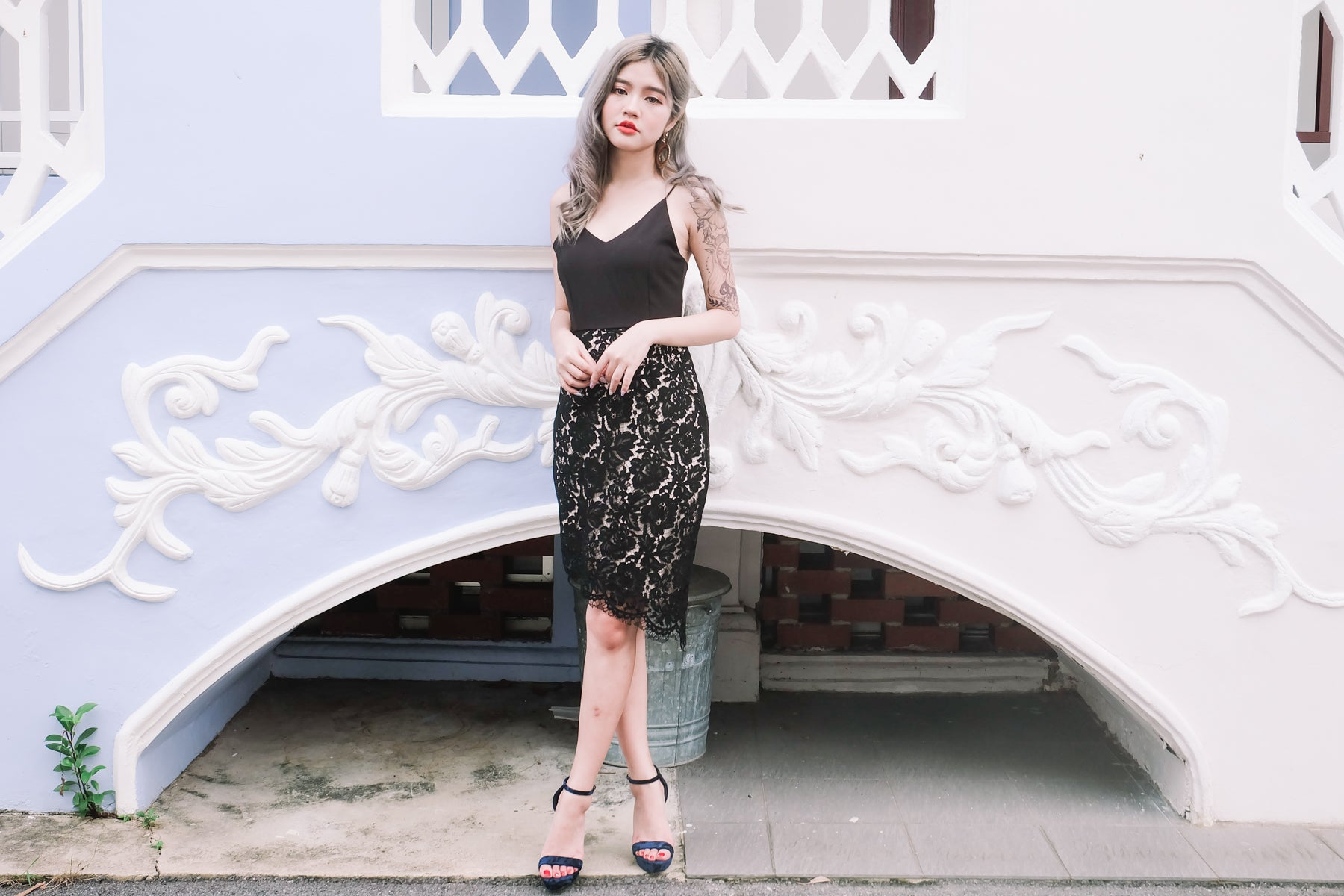 Lace Asymmetrical Dress in Black