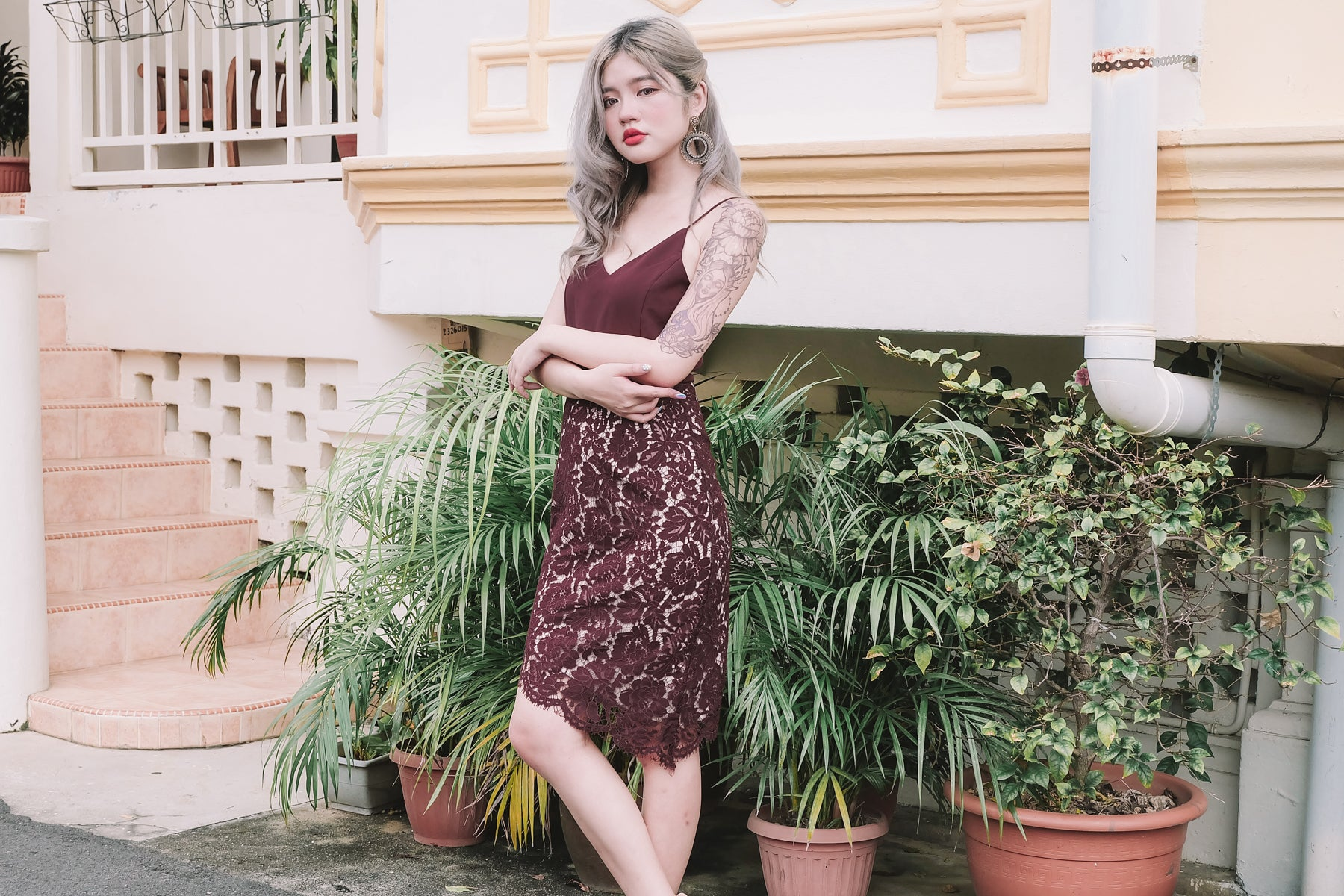 Lace Asymmetrical Dress in Wine