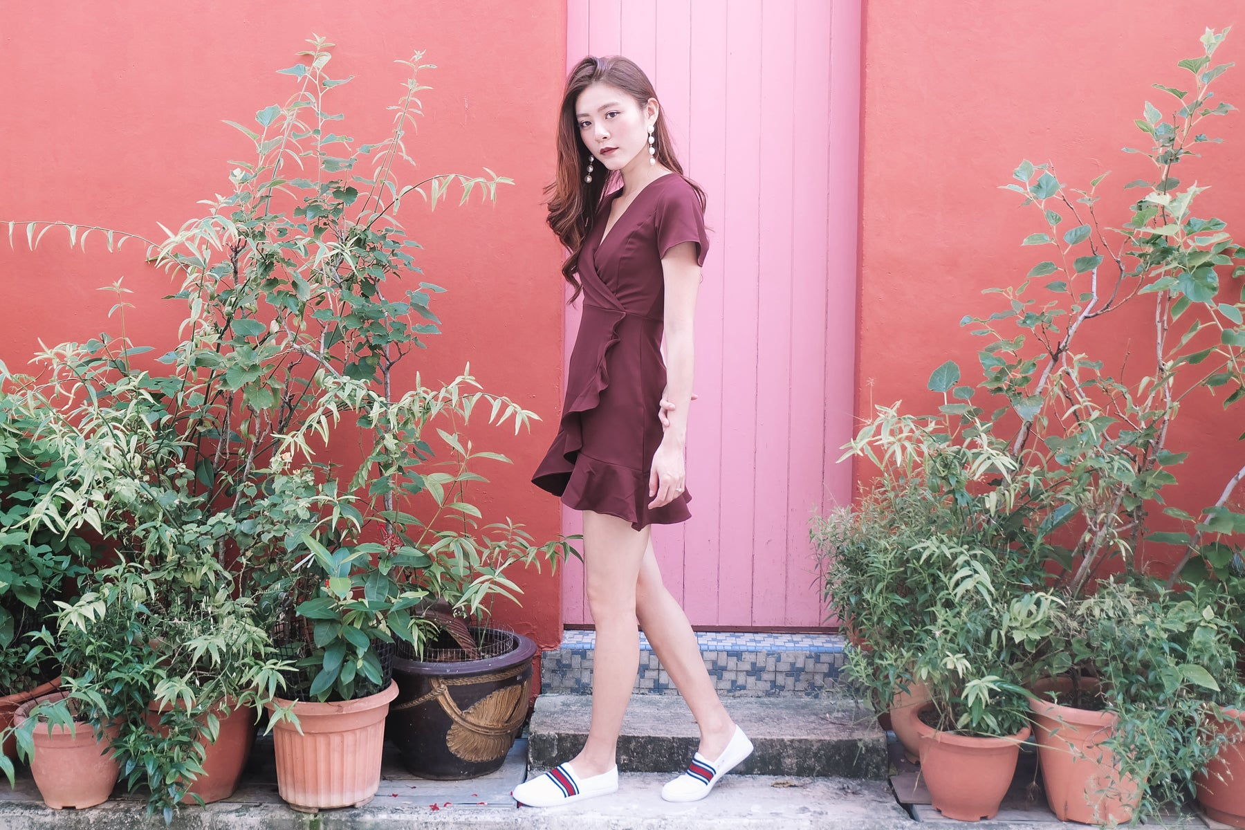 [Restocked] Ruffled Wrap Dress in Wine