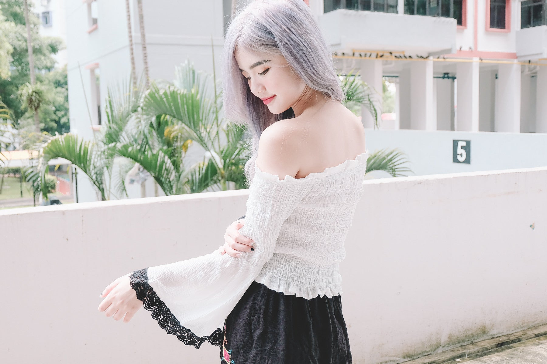 Crochet Sleeve Offsie Top in White