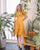 Ollie Eyelet Midi Dress Set in Marigold