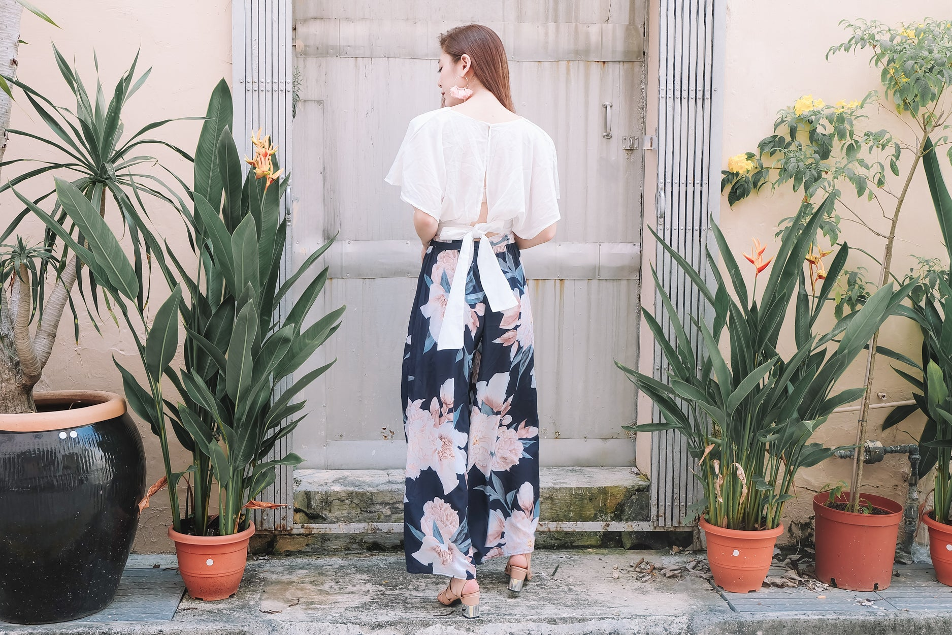 [Restocked] Floral Wide Leg Pants in Navy