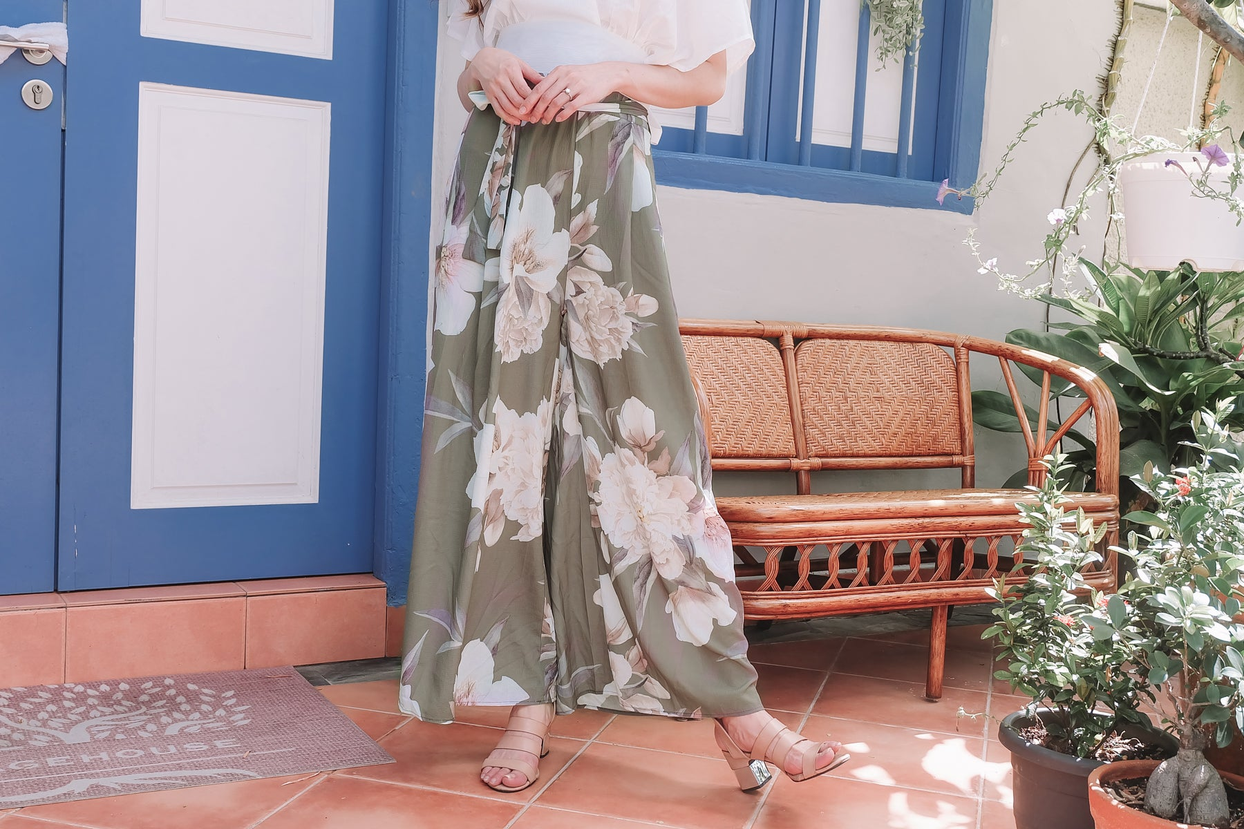 [Restocked] Floral Wide Leg Pants in Olive