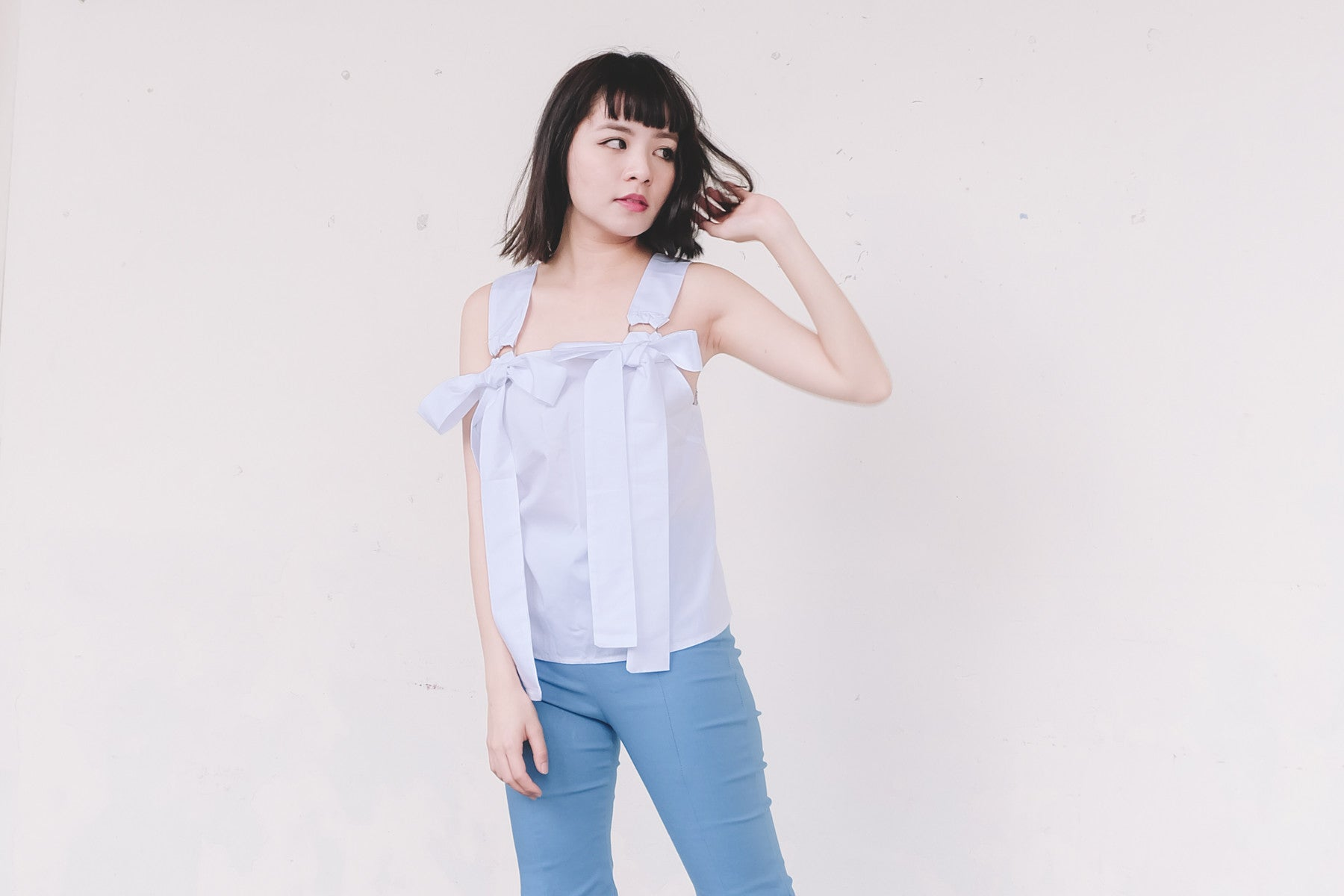 Self-Tie Ribbon Accent Sleeveless Top in White