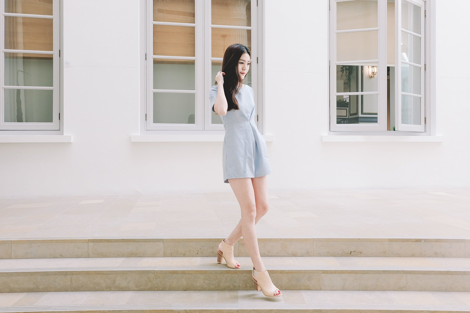 [Restocked] Knot Waist Romper in Light Blue