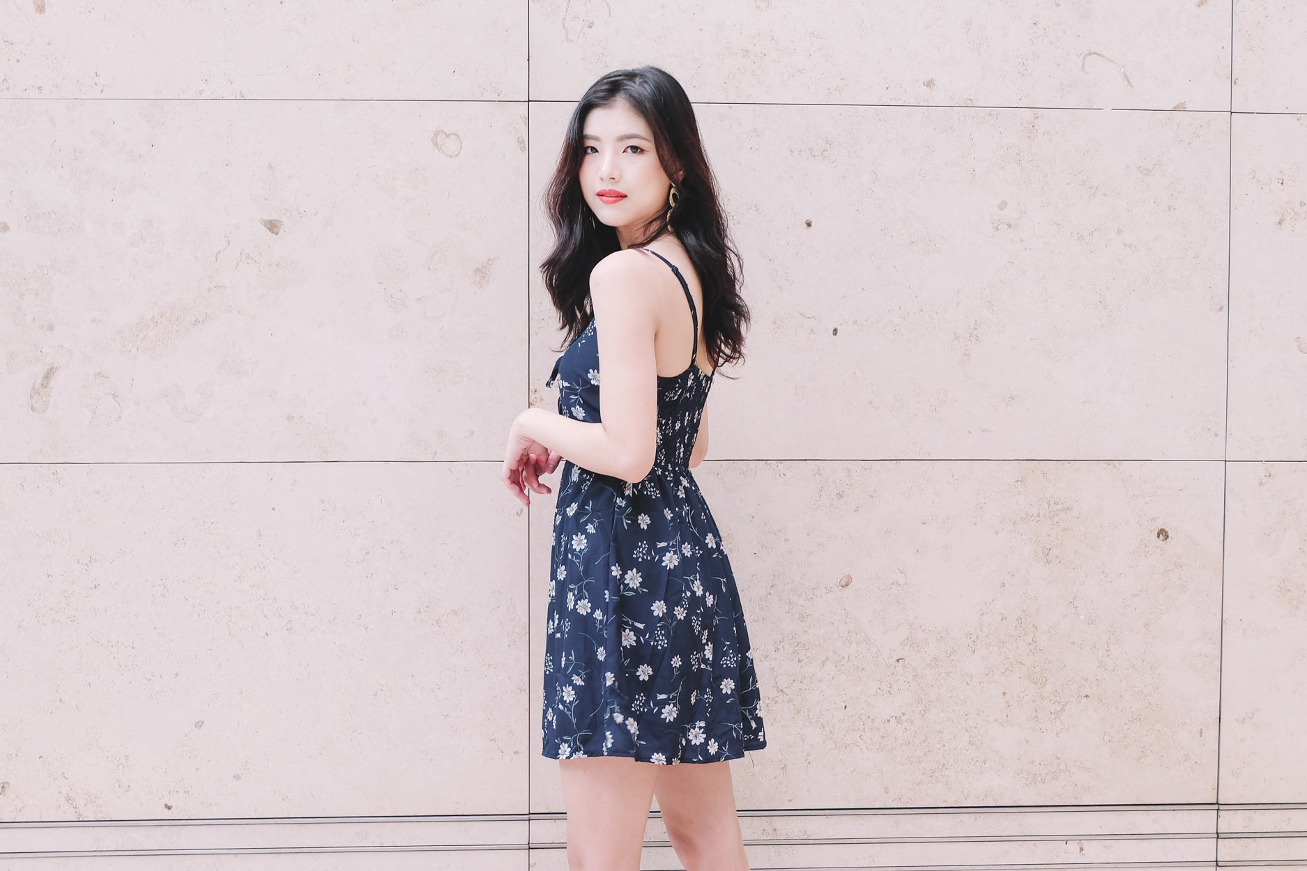 [Restocked] Floral Skorts Romper in Navy 1
