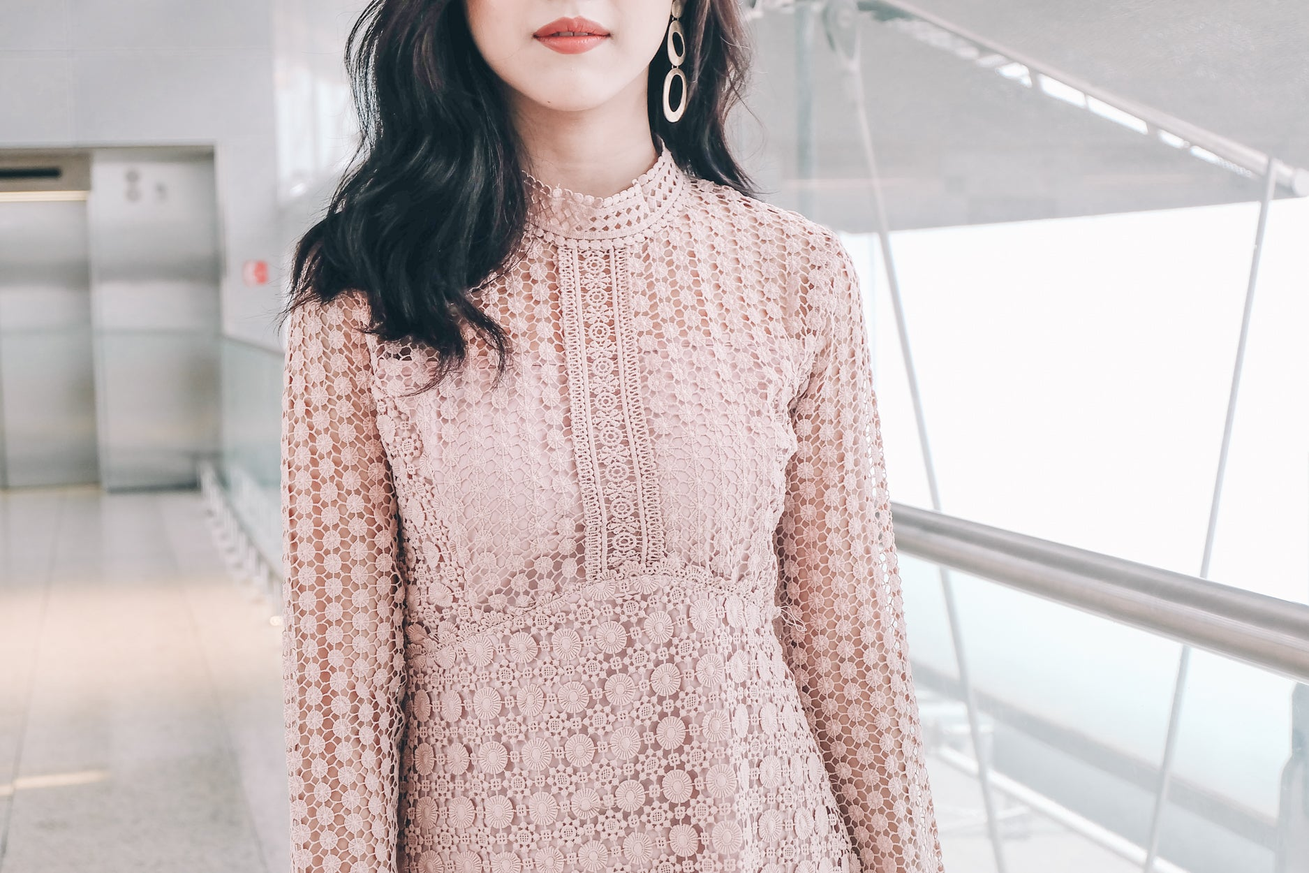 Addison Crochet Lace Sleeve Dress in Pink