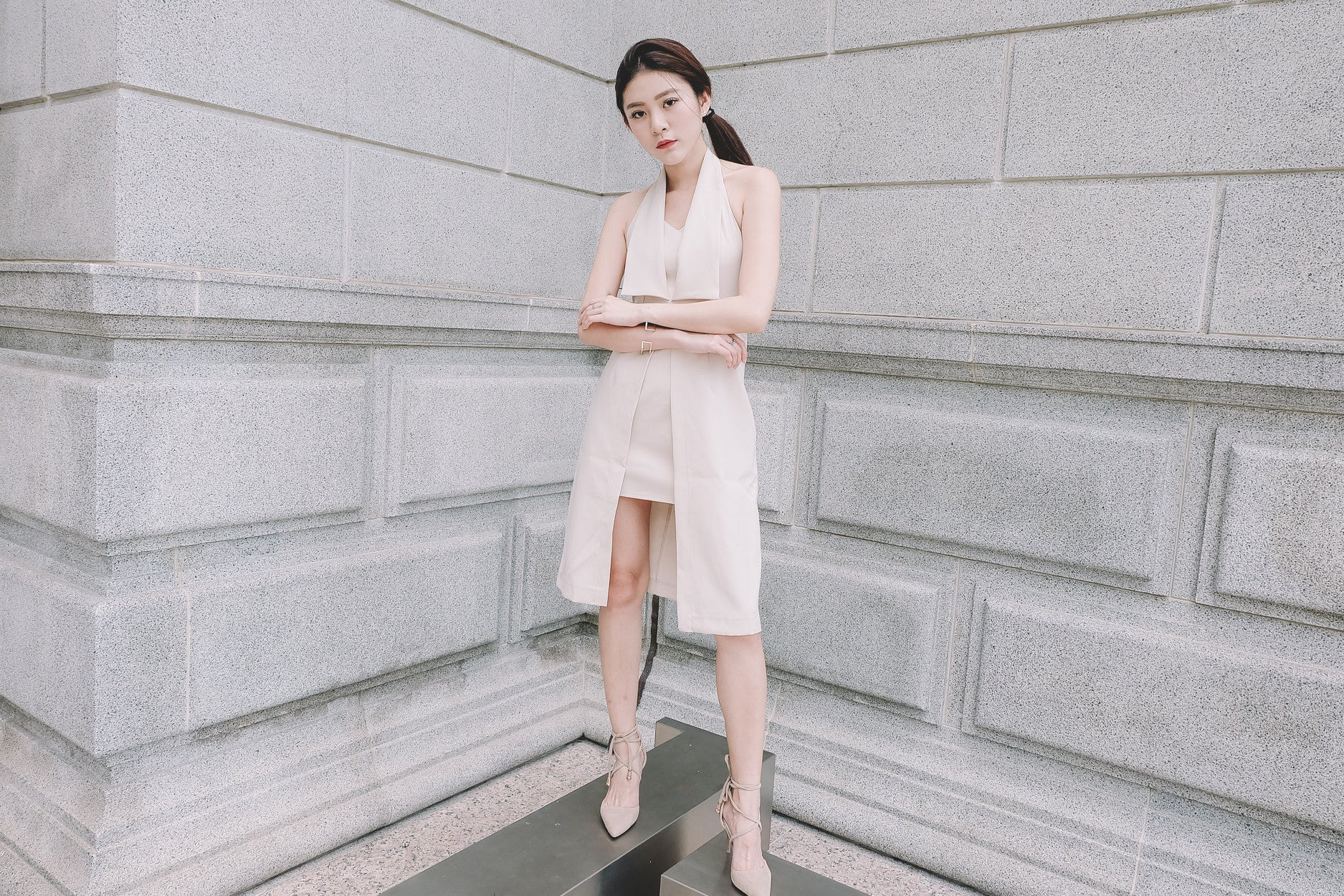 Hi-Lo Tuxedo Midi Dress in Off White