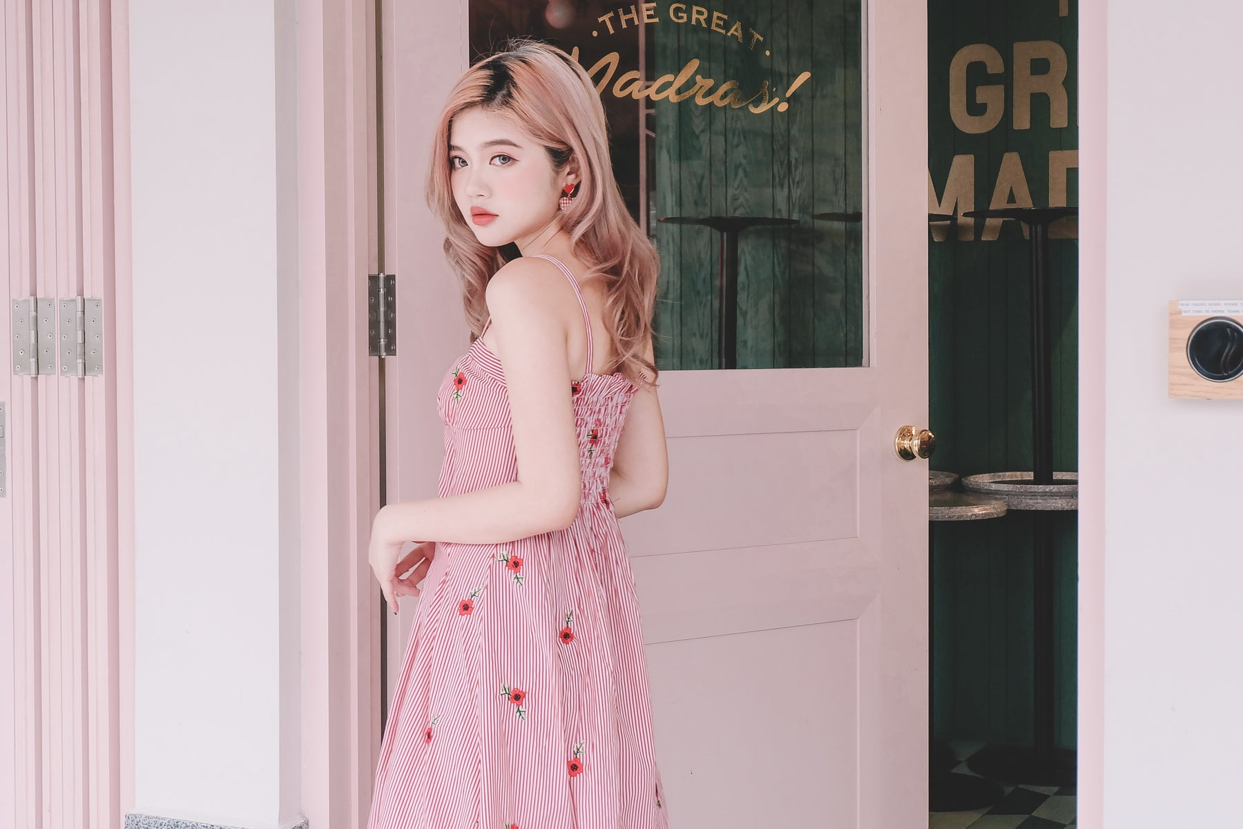 [Restocked] Red Striped Floral Midi Dress