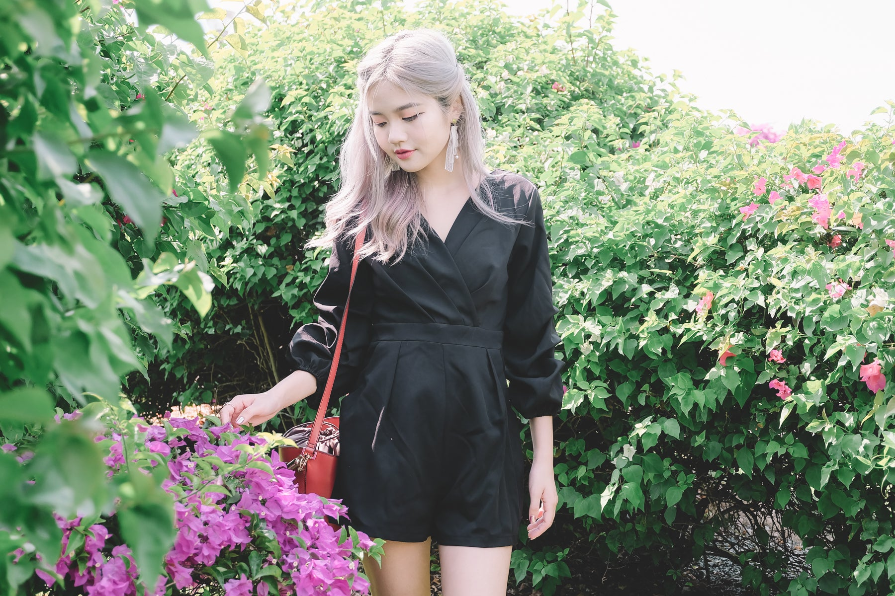Puff Sleeve Wrap Romper in Black