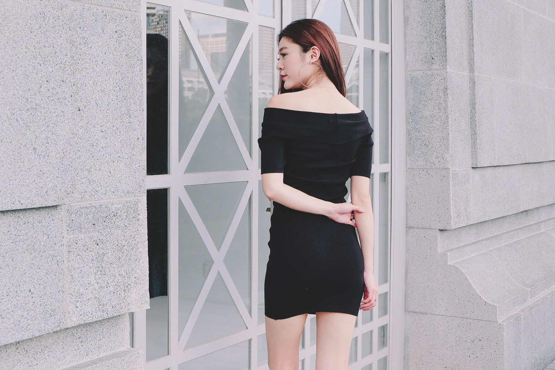 Cross Off Shoulder Dress in Black