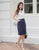 Belva 2-Tone Dress in Navy