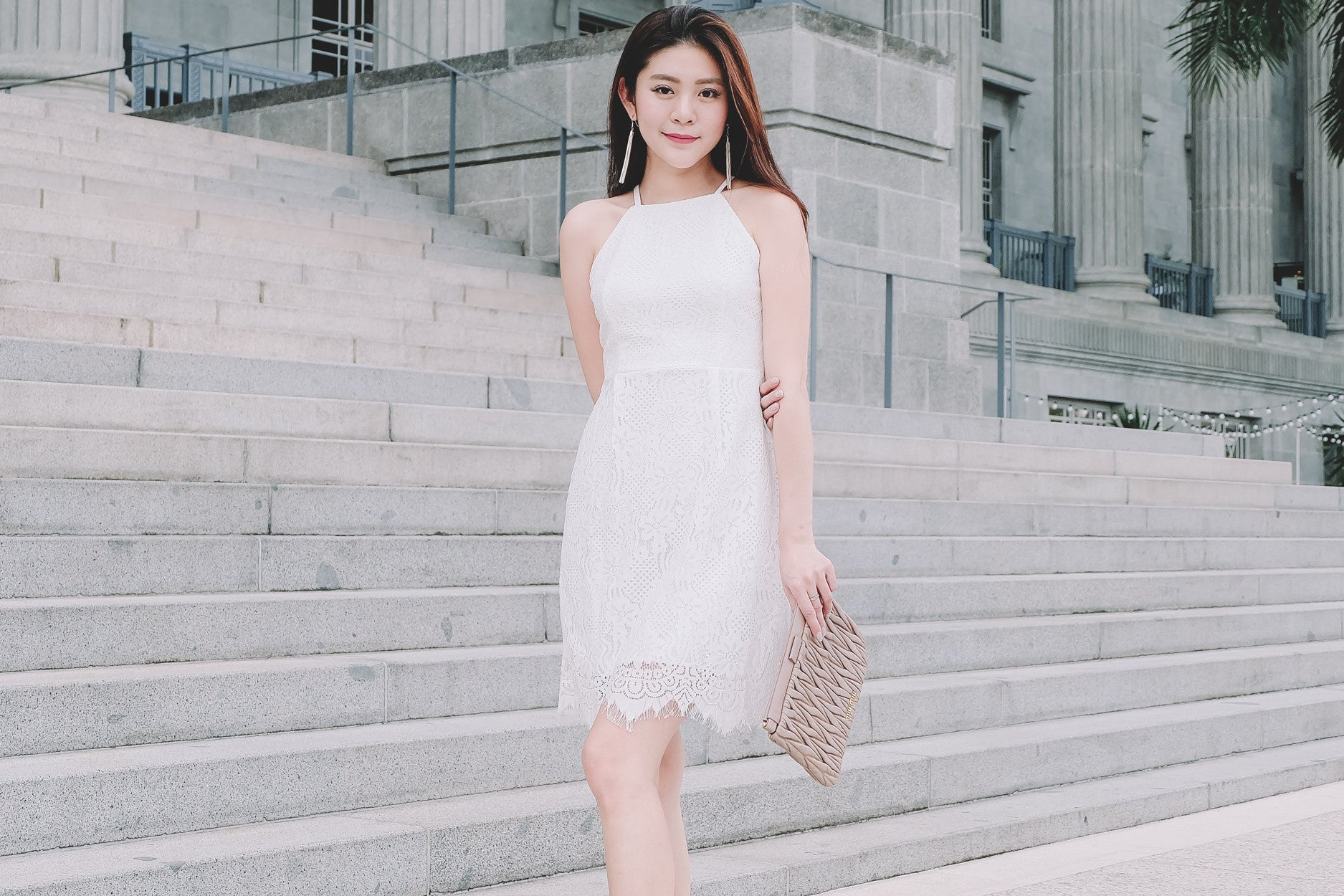 Floral Lace Dress in White