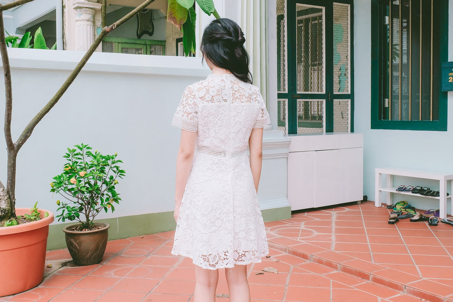 Quelle Crochet Lace Dress in White
