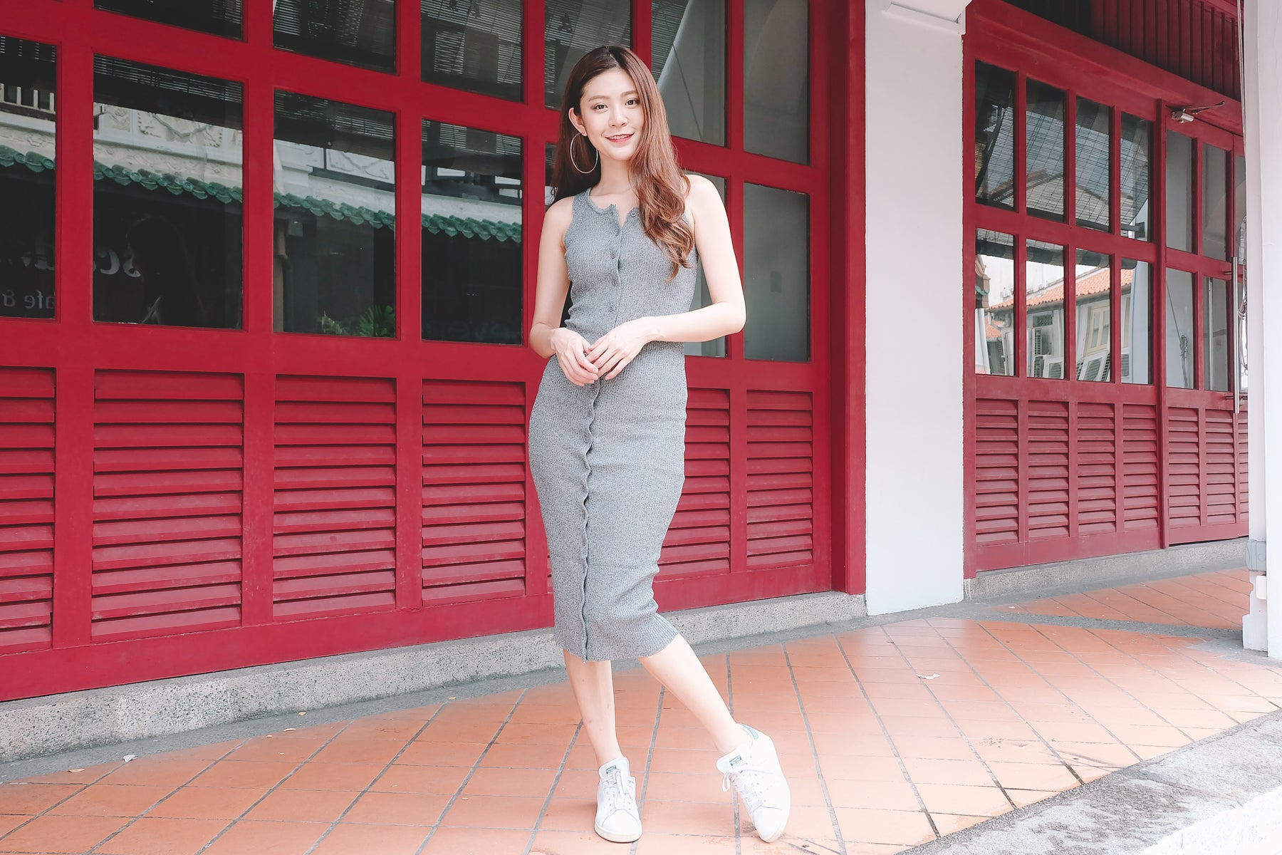 Button Down Knit Dress in Grey