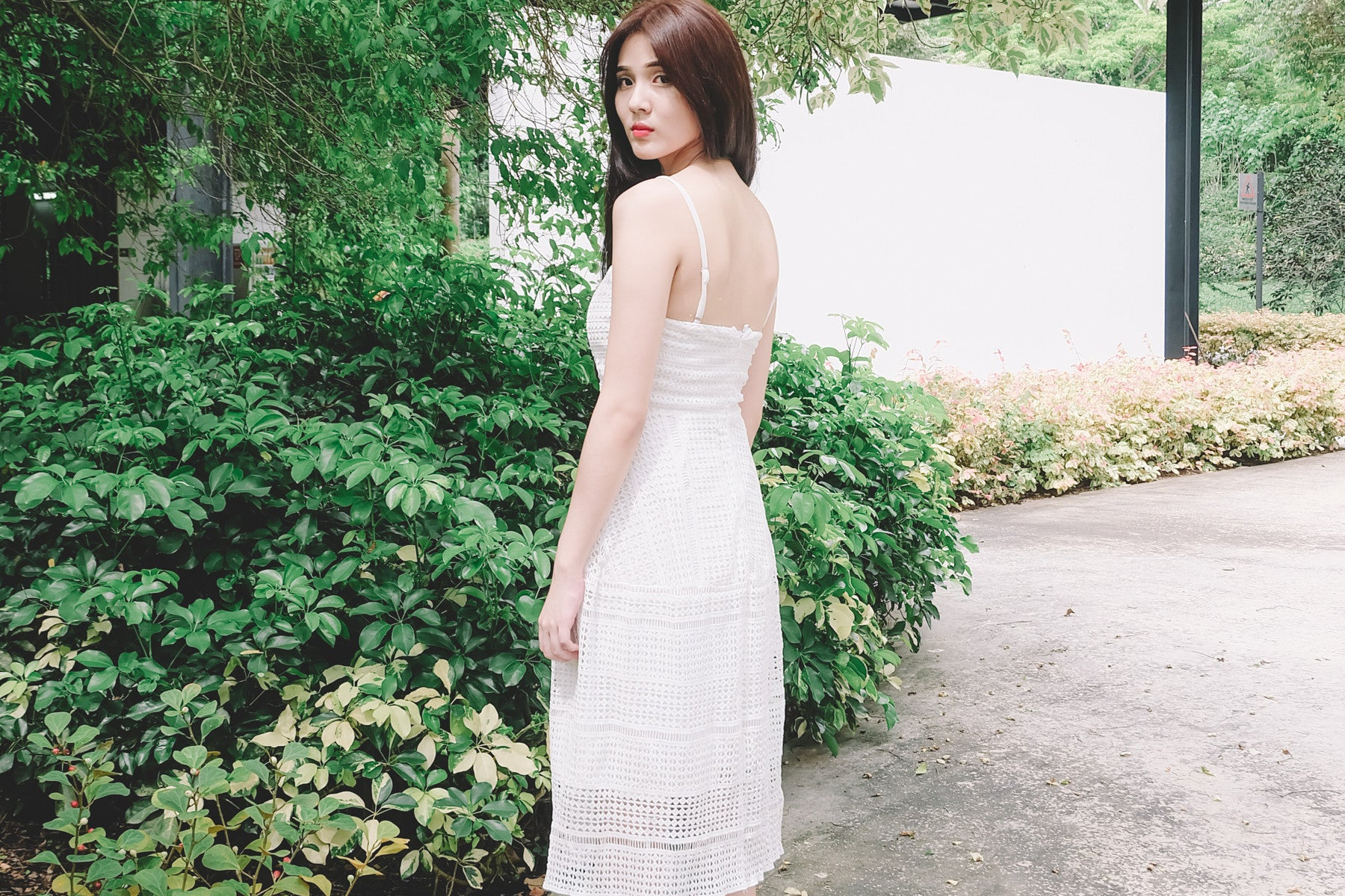 Crochet Eyelet Midi Dress in White
