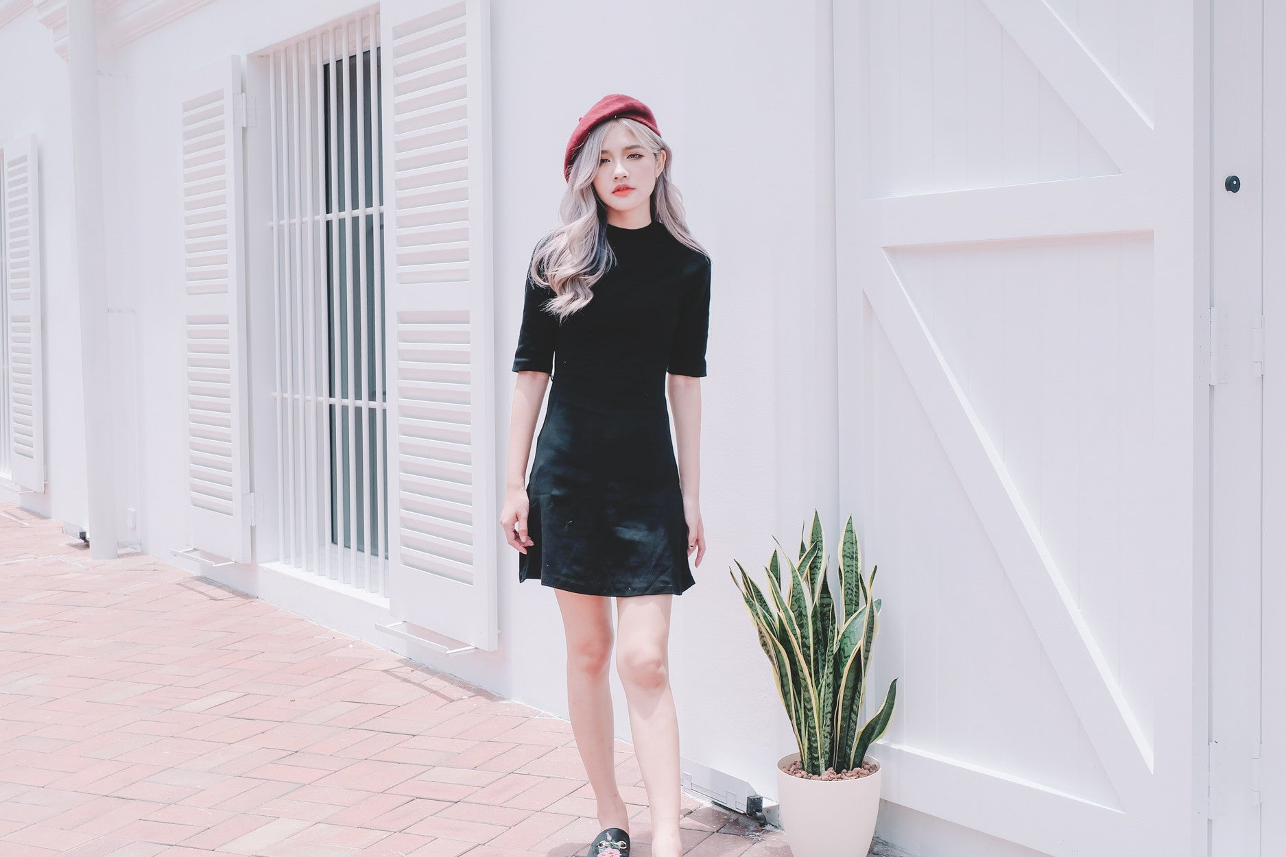 Mock Neck Basic Dress in Black