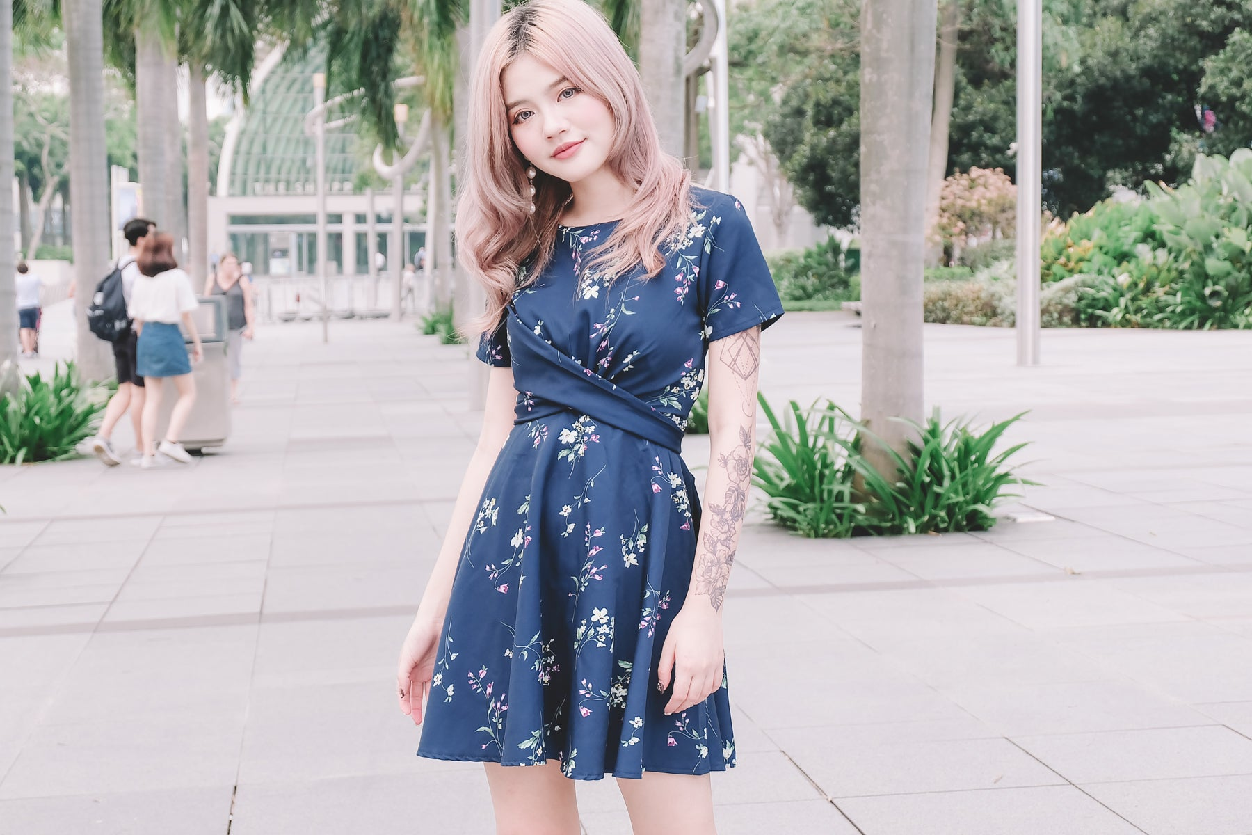 [Restocked] Floral Cross Waist Dress in Navy