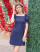Addy Puff Sleeve Dress in Navy