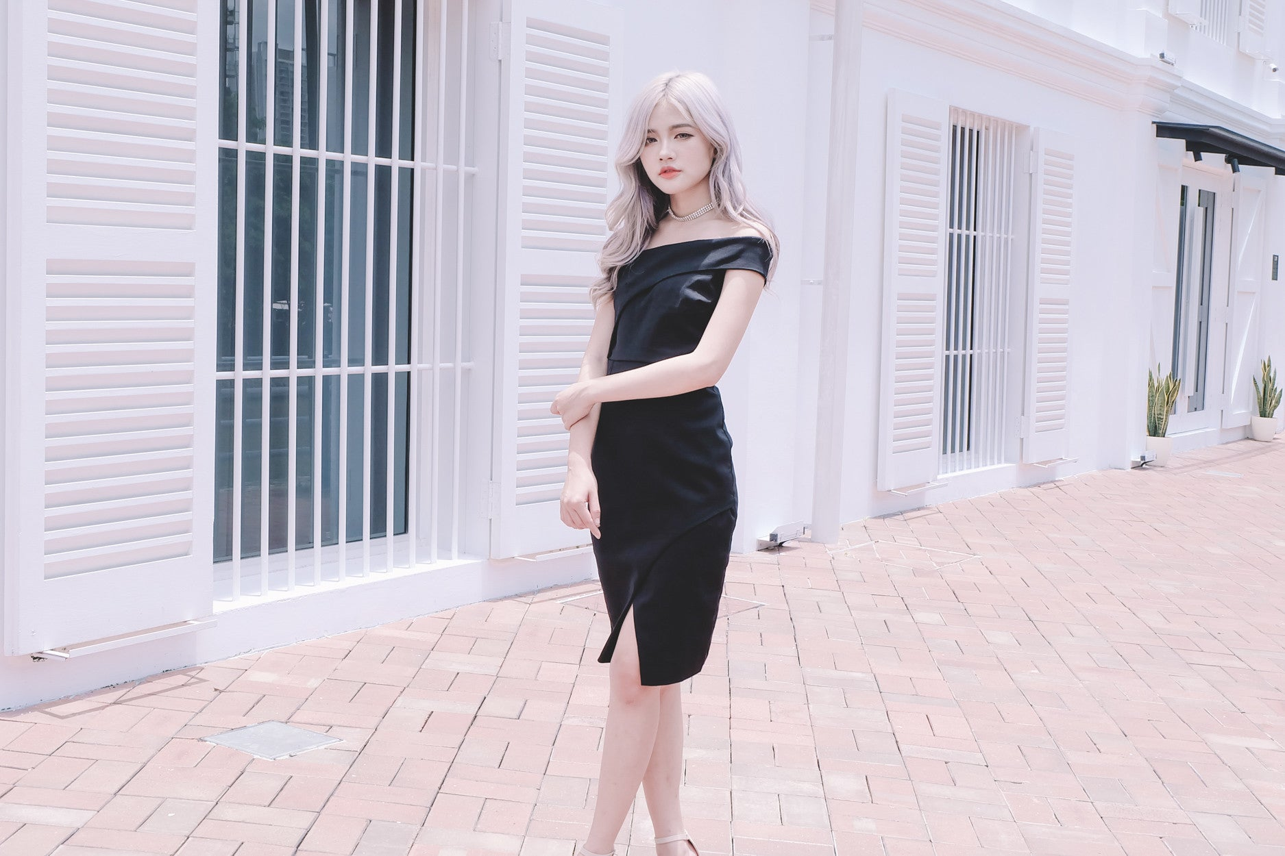 Toga Fitted Dress in Black