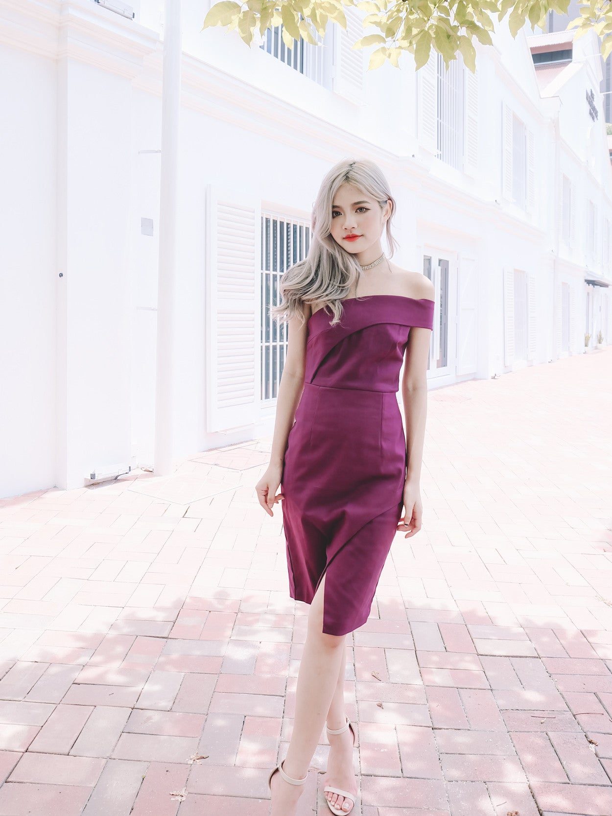 Toga Fitted Dress in Magenta