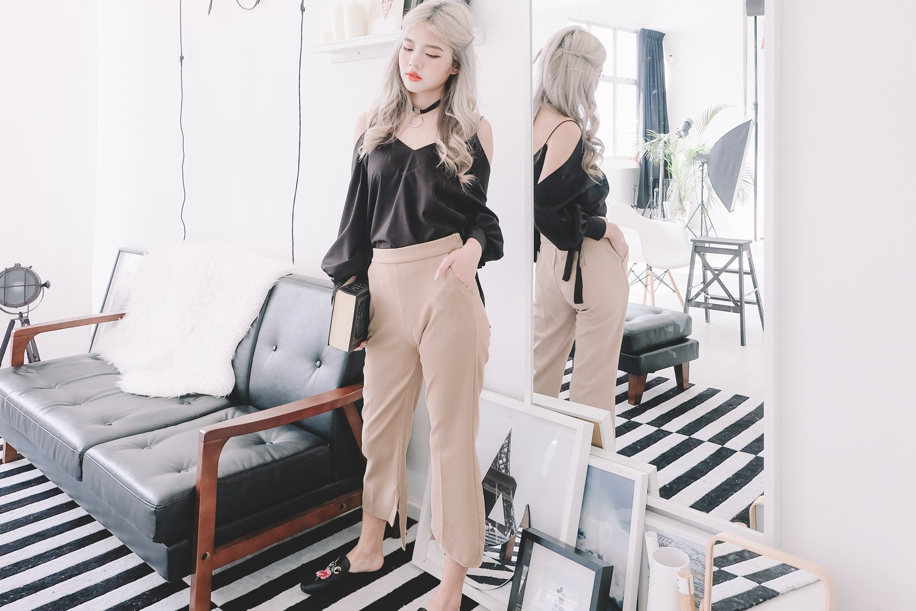 High Waist Open Fork Pants in Sand