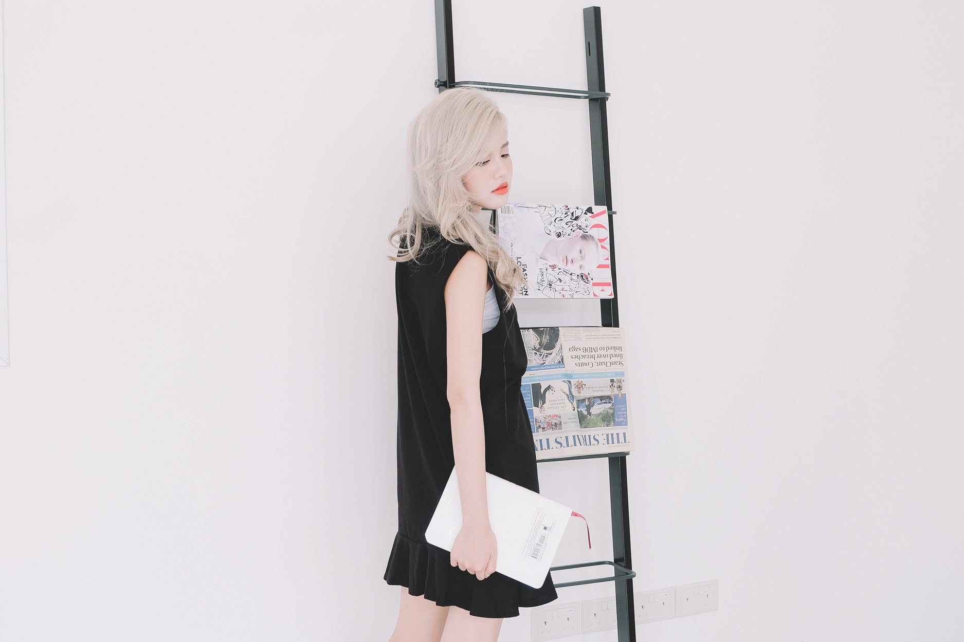 Varsity Ruffled Hem Dress in Black