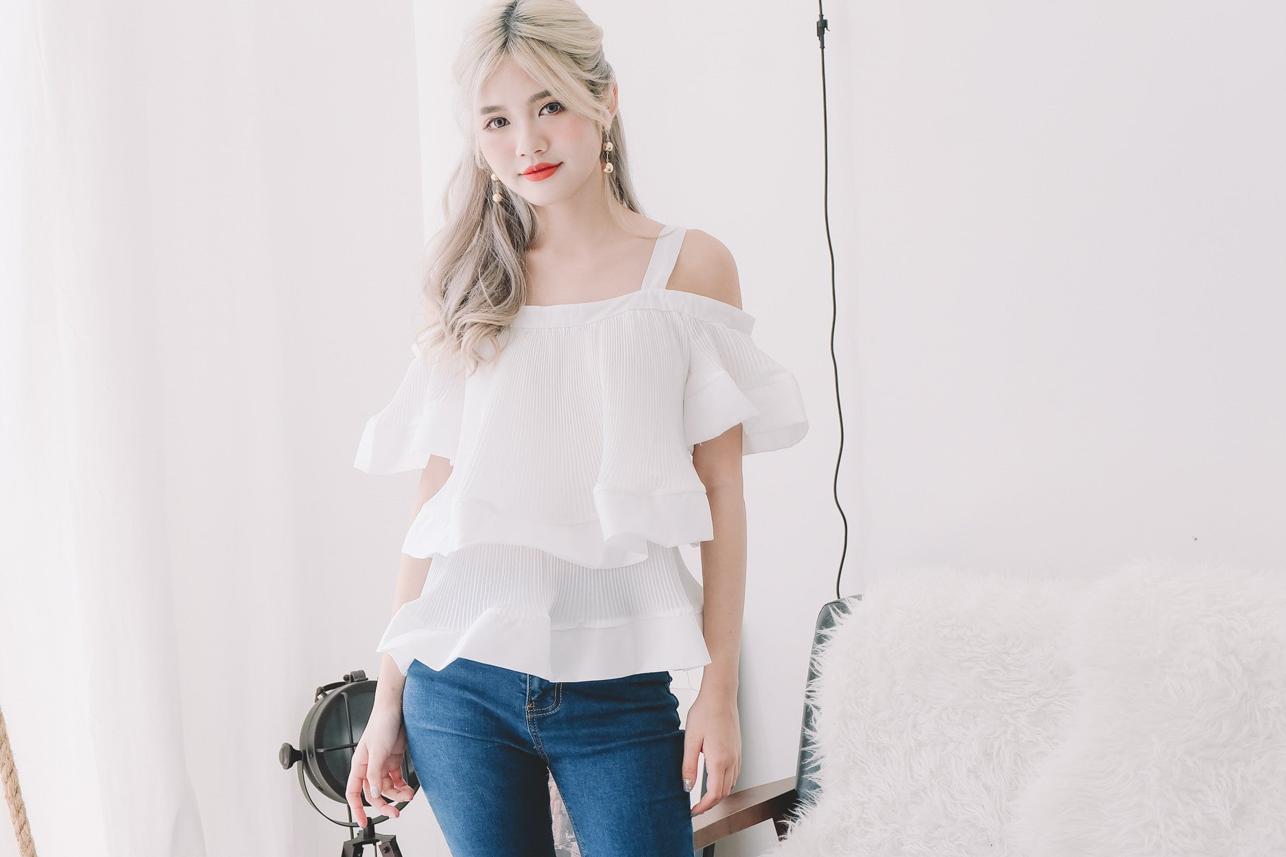 [Restocked] Layered Pleated Top in White