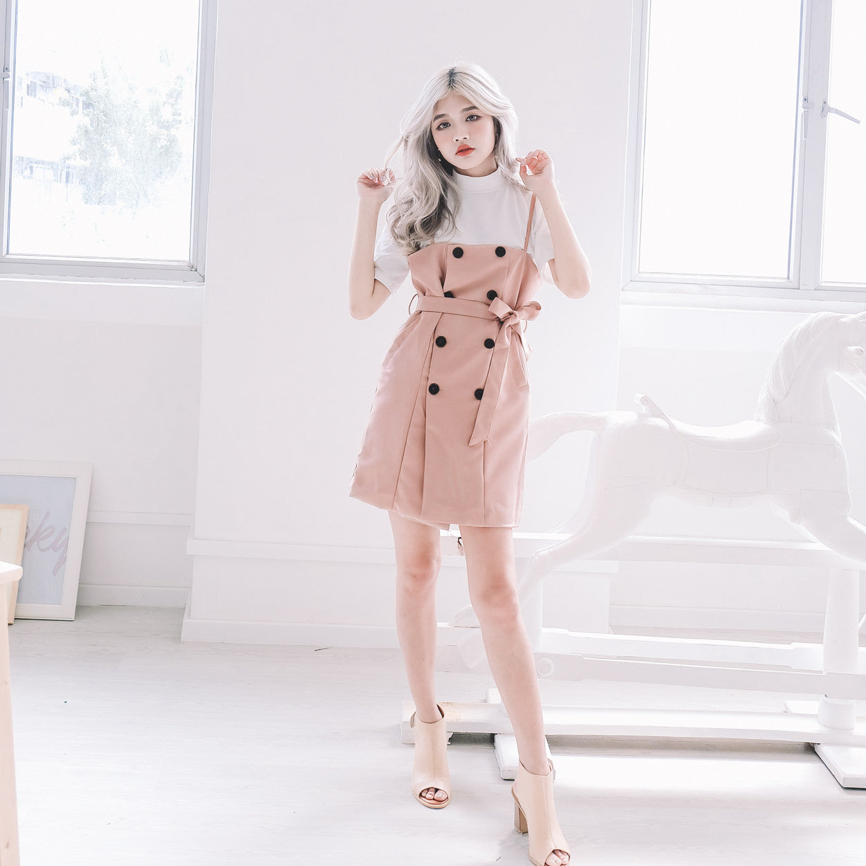[Restocked] Trench Pinafore Dress in Pink