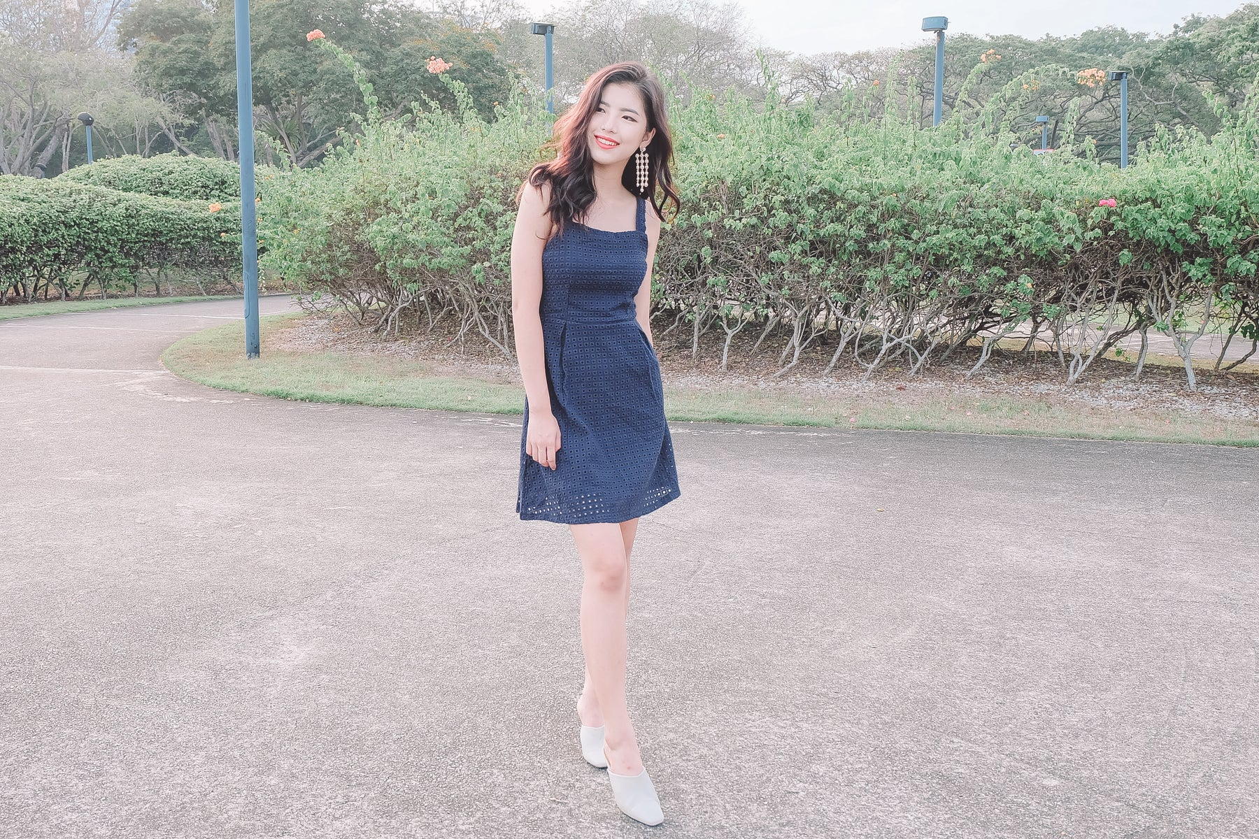 Eyelet Skater Dress in Navy