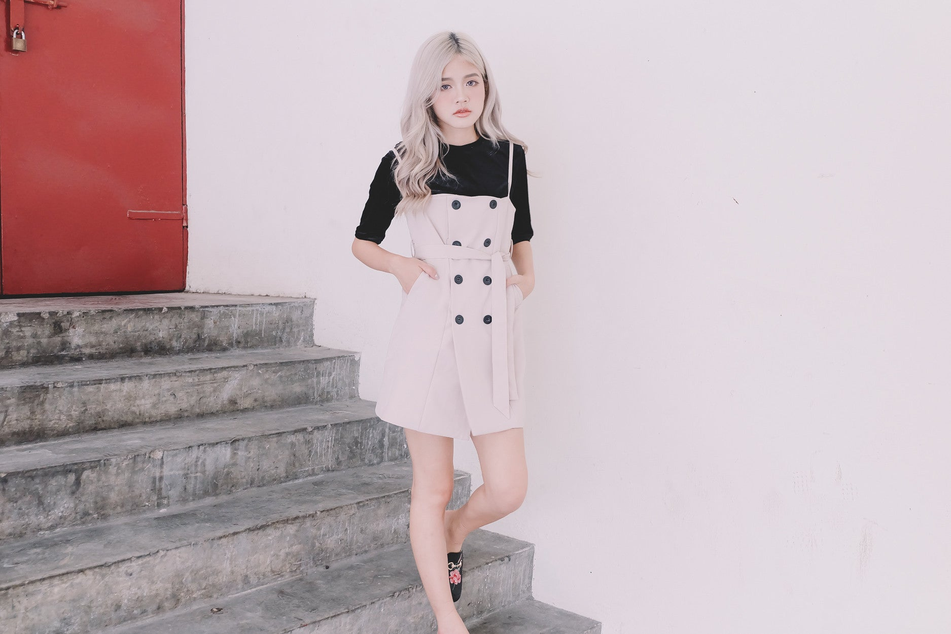 Trench Pinafore Dress in Beige
