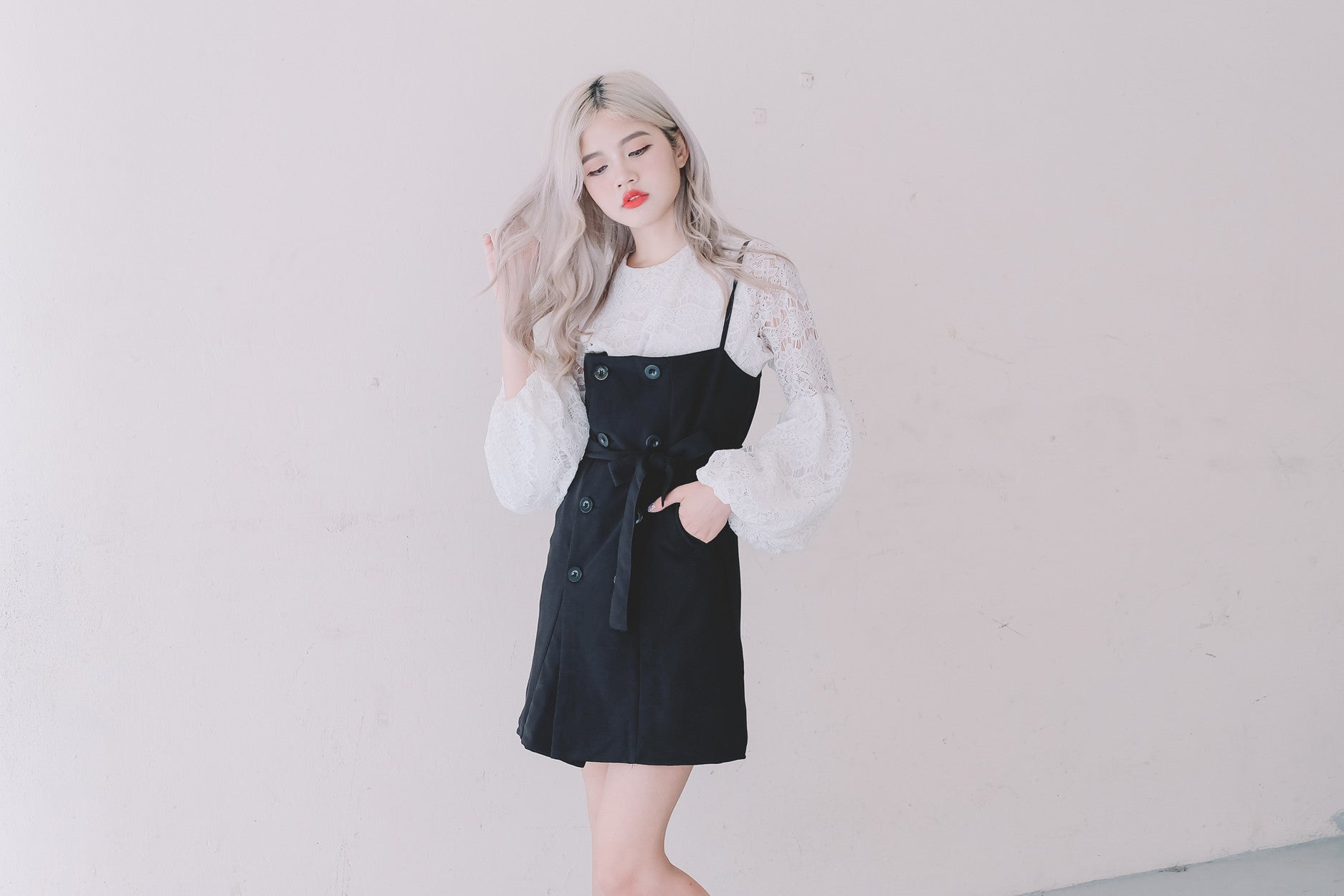 Trench Pinafore Dress in Black