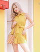 Kennedy Utility Linen Romper in Yellow