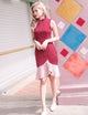 Brynn Colour Block Dress in Wine