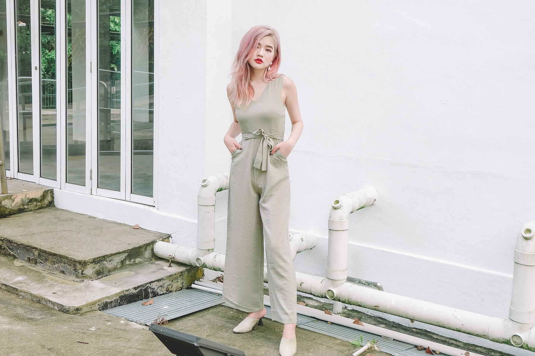 Lucille Crepe Jumpsuit in Mint