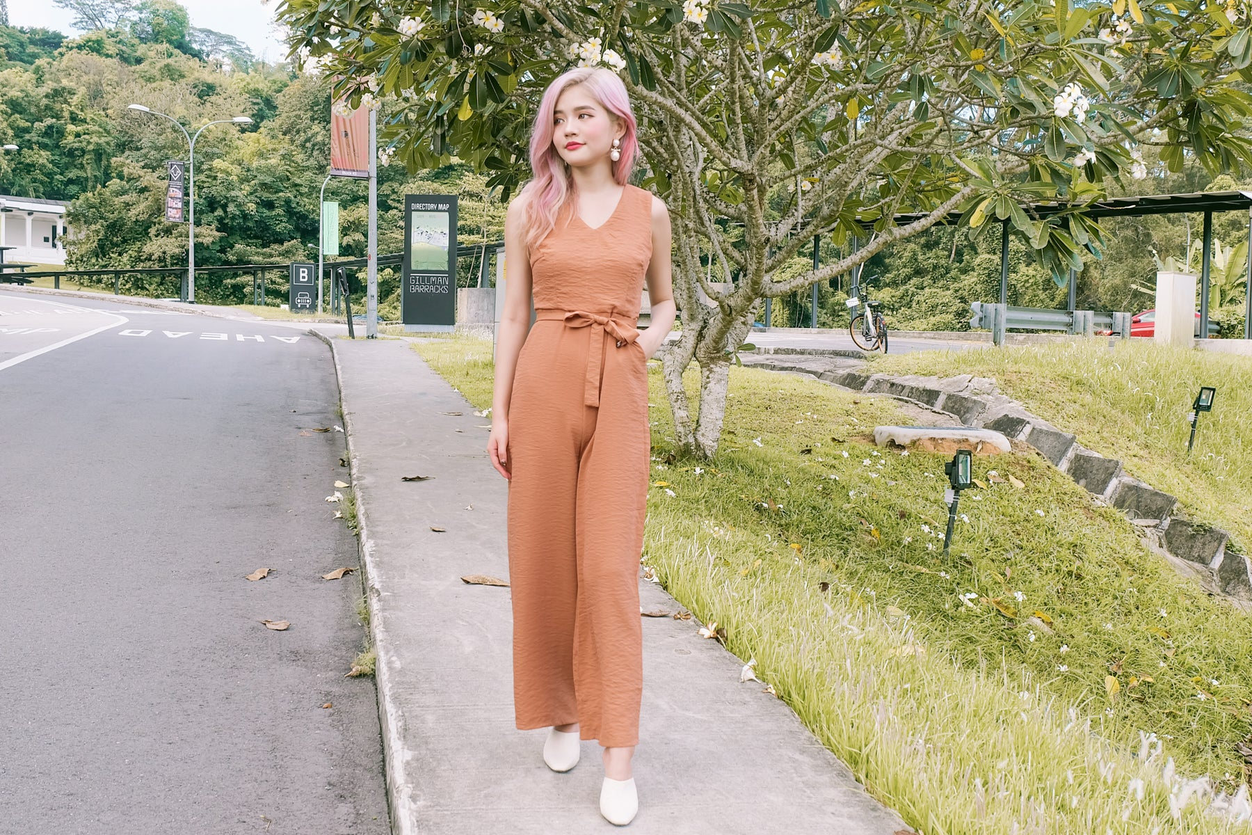 Lucille Crepe Jumpsuit in Sand