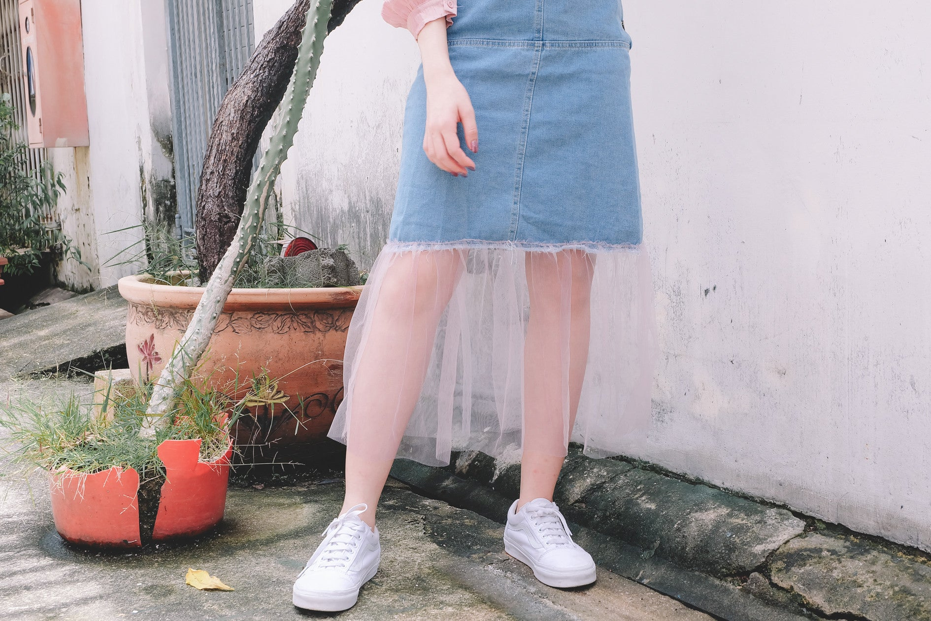 Chiffon Mesh Overall Denim Dress