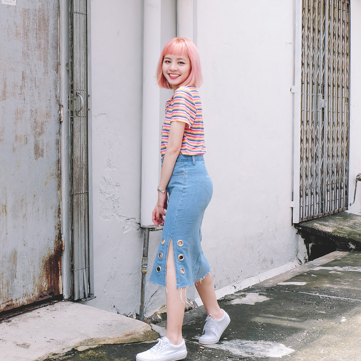 [Restocked] O-Ring Denim Midi Skirt