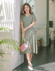 [Backorder] Scarlett Mini Hearts Midi Dress in Sage