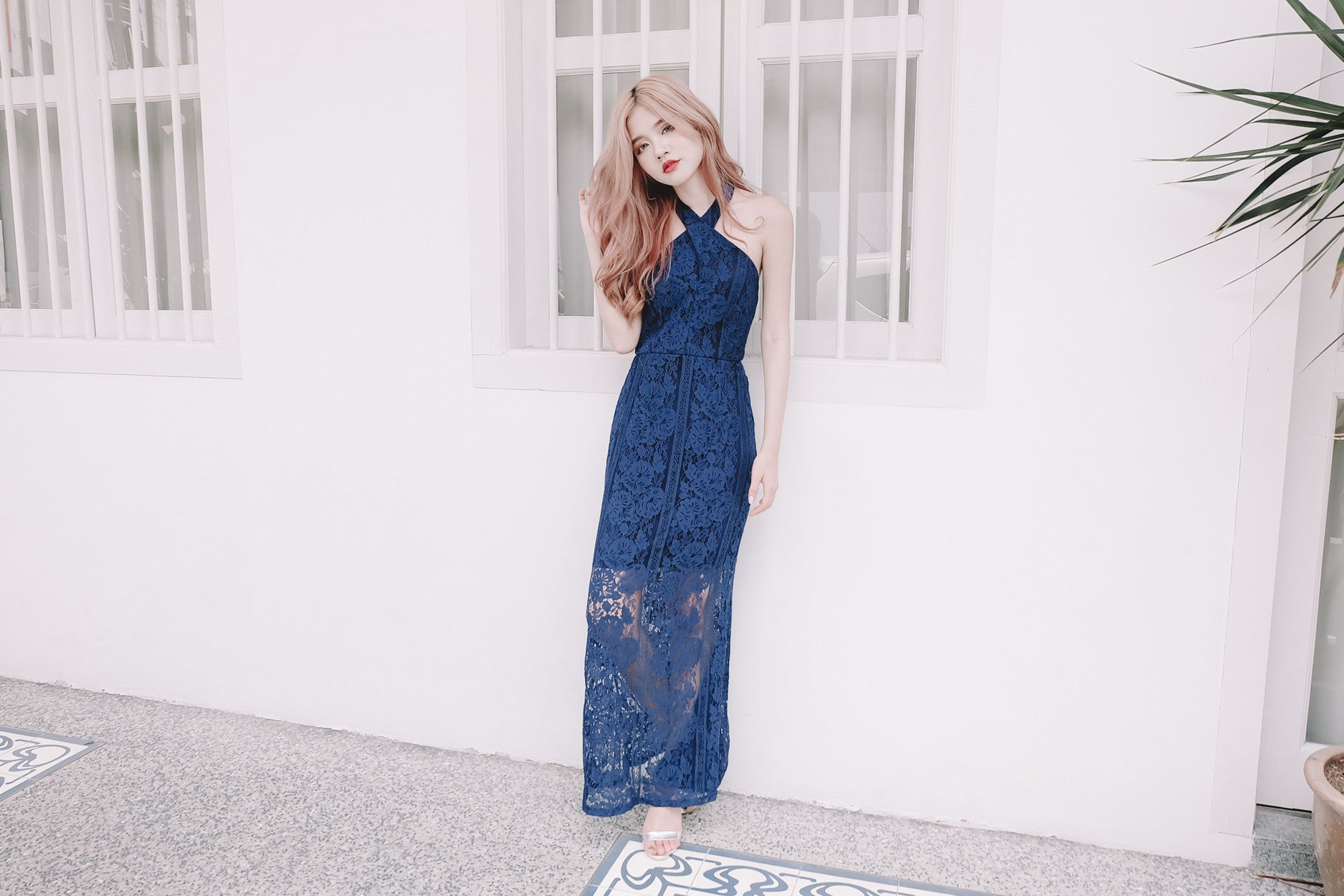 [Restocked] Luxe Lace Mermaid Maxi Dress in Navy