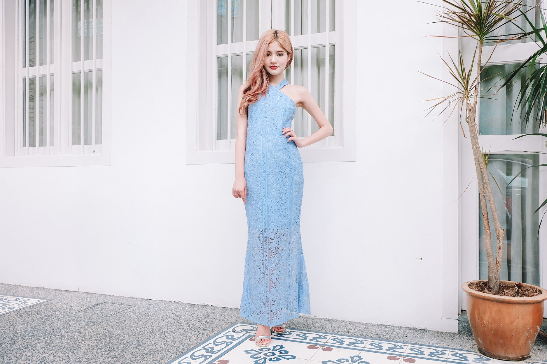 Luxe Lace Mermaid Maxi Dress in Sky Blue