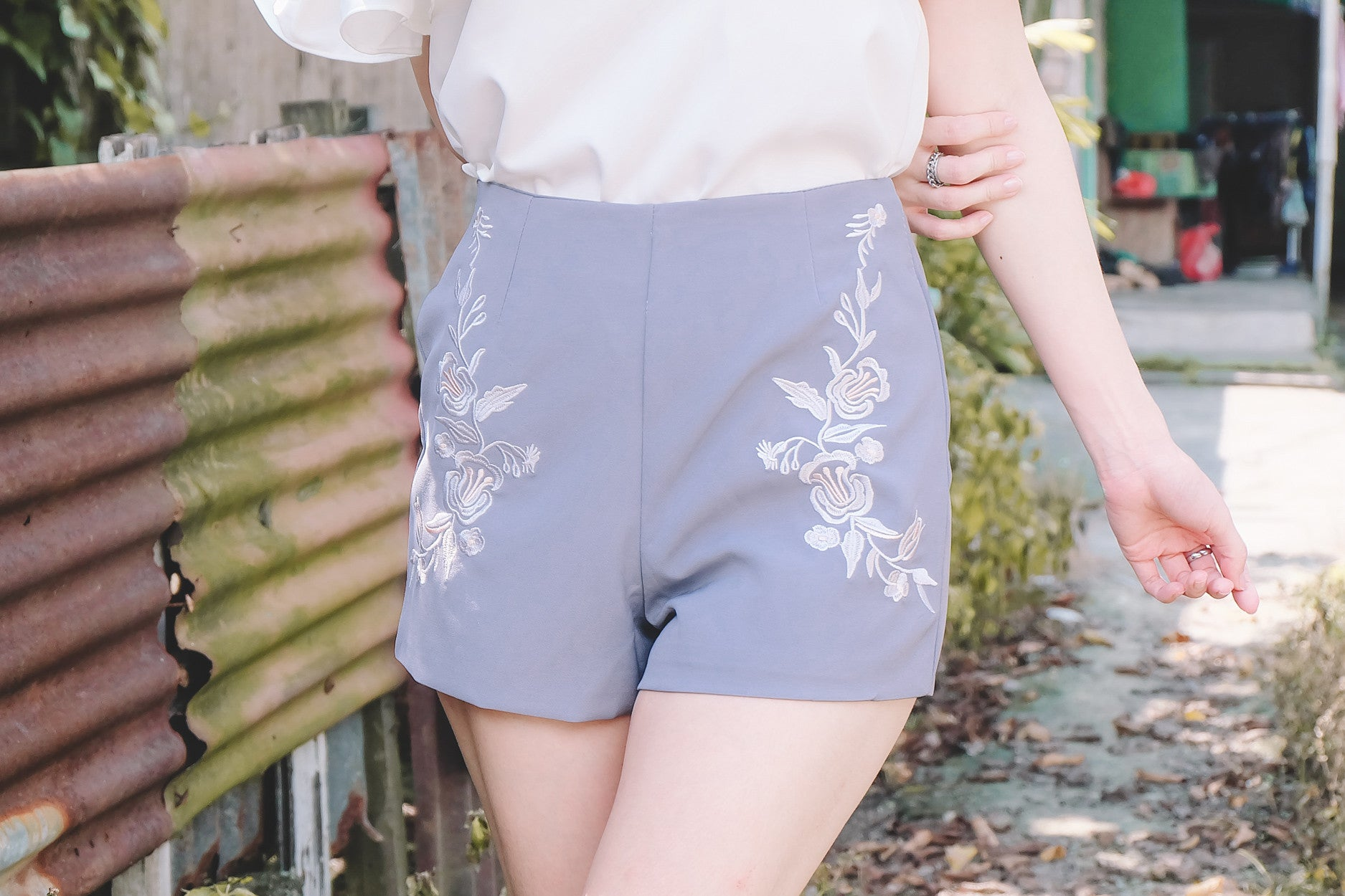 Floral Embroidered Shorts in Lilac