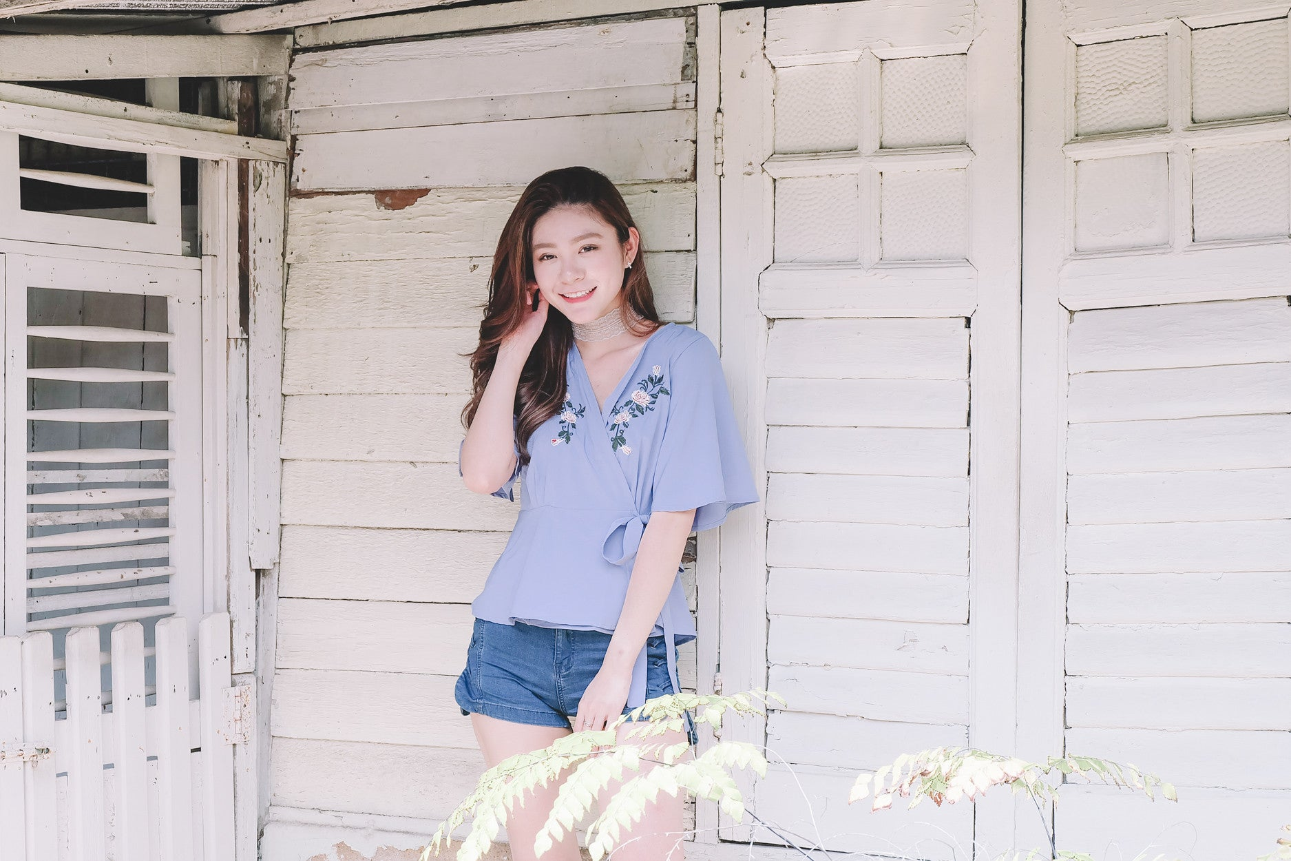 [Restocked] Floral Embroidered Wrap Top