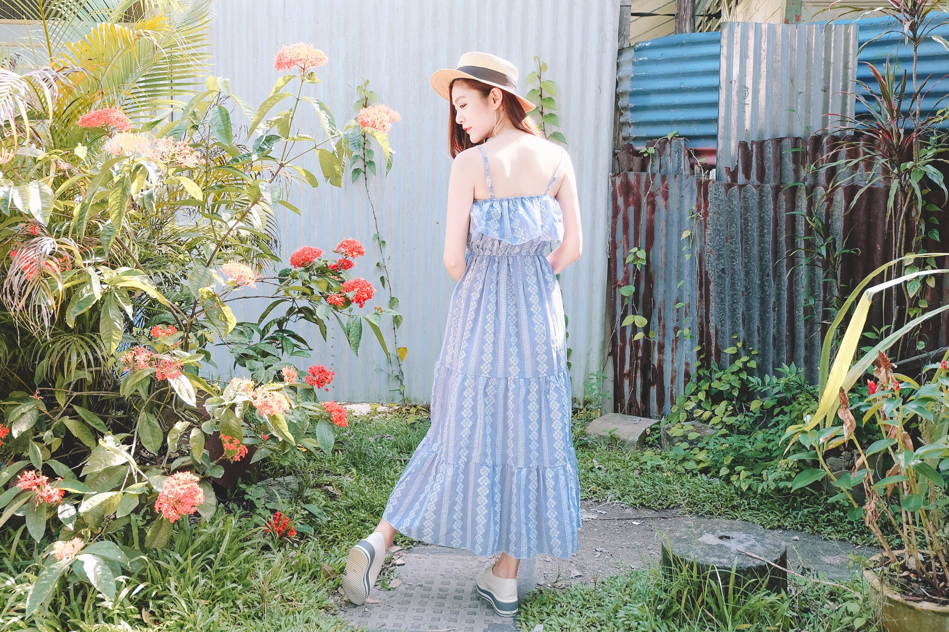 Embroidered Maxi Sundress in Blue